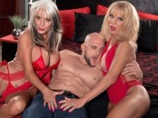 Cara, Sally and a big, bulky cock