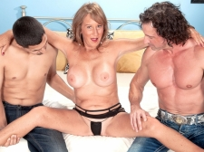 Trisha gets ass-fucked by two men and swallows